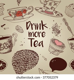 Tea Branding Design.Tea design set cards. Sweet pattern. Greeting floral card. Invitation. Tea,sweets seamless doodle pattern