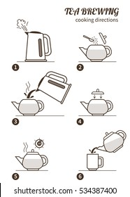 Tea brewing cooking directions. Steps how to cooking tea. Vector illustration.