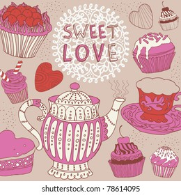 tea and cake pattern design
