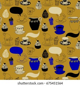 Tea and cake, seamless pattern.