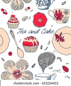 Tea and cake seamless pattern. Invitation card. Vector illustration.