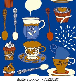 Tea and cakes, pattern design.