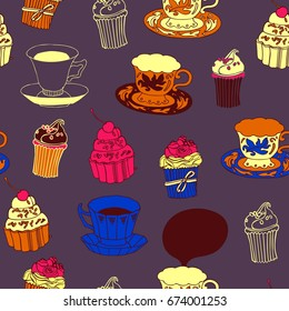 Tea and cakes, seamless pattern.
