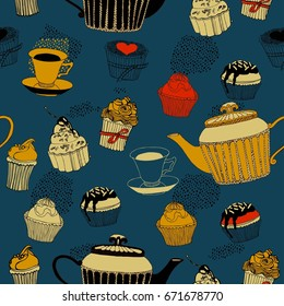 Tea and cakes, seamless pattern. Vector illustration.