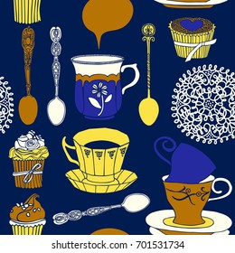Tea and cakes vector illustration.