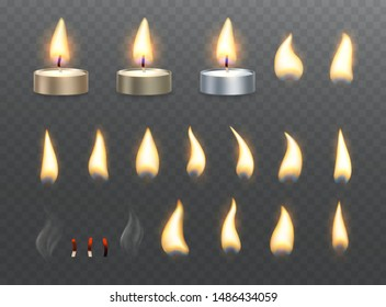 Tea candles and fire flame effects. Set of burning light effects on transparent background.