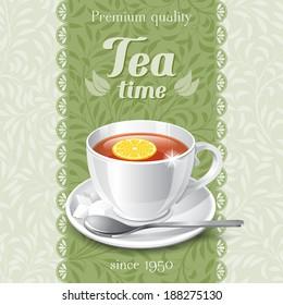 Tea card template for restaurant, cafe, bar