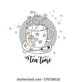 Tea card. Tea time. Hand drawing  illustration.