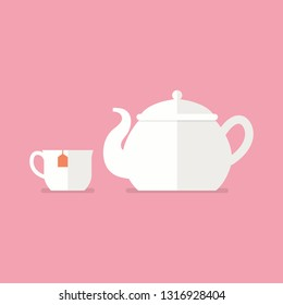 Tea ceramic teapot and cup. Flat style vector illustration.