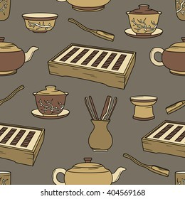 Tea ceremony hand drawn seamless pattern. Colorful background vector with objects, chinese tradition. Design illustration, crockery icons. Decorative wallpaper, good for printing