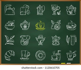 Tea chalk icons set. Outline sign kit of cup. Tea time linear icon collection includes teaspoon, sugar bowl, samovar. Hand drawn by pastel crayon simple tea symbol on chalkboard vector Illustration