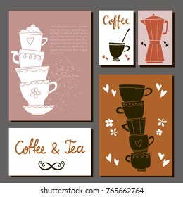 Tea and coffee card set. Hand drawn isolated. Hand written font, lettering