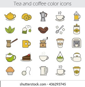 Tea and coffee color icons set. Moka pot, espresso machine, steaming teacup, electric kettle, coffee to go, muffin, turkish cezve, loose tea leaves, chocolate cake. Vector isolated illustrations