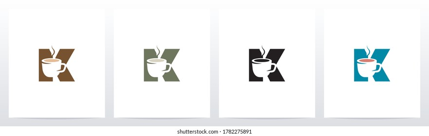 Tea Coffee Cup On Letter Logo Design K