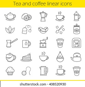 Tea and coffee linear icons set. Moka pot, espresso machine, steaming teacup, electric kettle, coffee to go paper cup, muffin, turkish cezve. Thin line contour symbols. Isolated vector illustrations