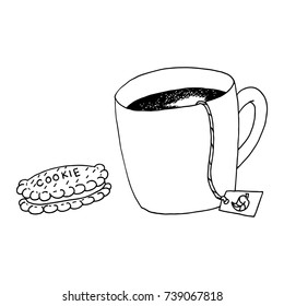 Tea and Cookie Hand Drawn Sketch Doodle Vector Illustration