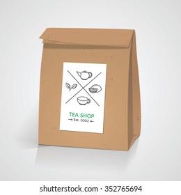 Tea craft paper pack bag. Line style tea badge elements