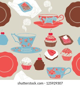 tea cup background with cakes