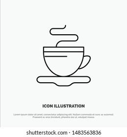 Tea, Cup, Coffee, Hotel Vector Line Icon