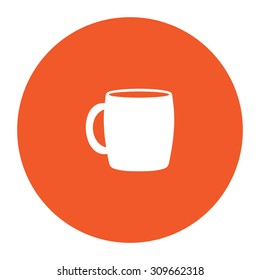 Tea cup. Flat white symbol in the orange circle. Vector illustration icon