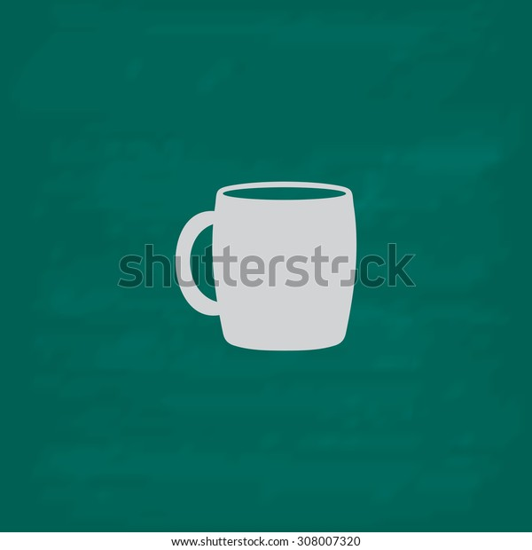 Tea cup. Icon. Imitation draw with white chalk on green chalkboard. Flat Pictogram and School board background. Vector illustration symbol