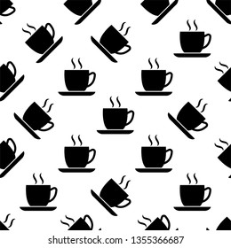 Tea Cup Icon Seamless Pattern, Coffee Cup Icon Vector Art Illustration