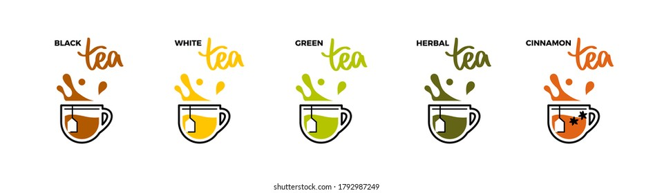 Tea cup icons, hot drink with splashes and droplets. Grade tea menu, all kind of tea with names and lettering. Simple line vector illustration as logotype or emblem.