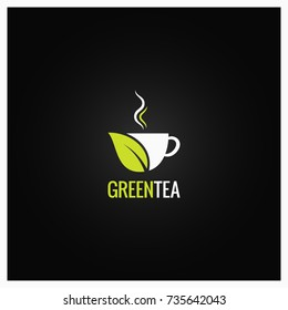 Tea cup logo concept design. Green organic tea background