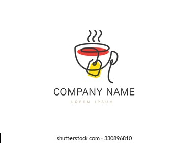 Tea Cup logo in Flat style. Vector illustration