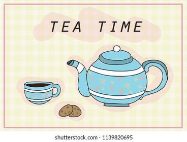 tea cup and tea pot vector drawn illustration