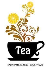 Tea cup. Restaurant menu design.Tea with lemon isolated on White background. Vector illustration