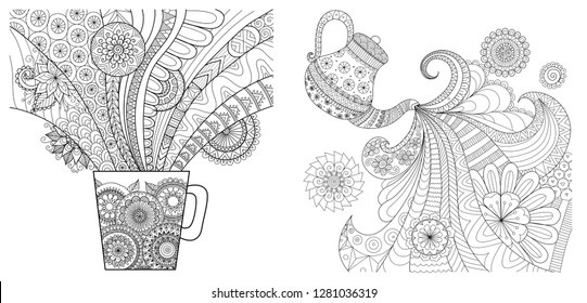 Tea cup and teapot collection for design elment, coloring book,coloring page or colouring picture. Vector illustration