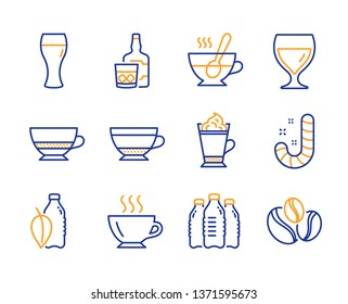 Tea cup, Water bottles and Latte coffee icons simple set. Bombon coffee, Candy and Water bottle signs. Whiskey glass, Dry cappuccino and Beer glass symbols. Coffee-berry beans. Line tea cup icon