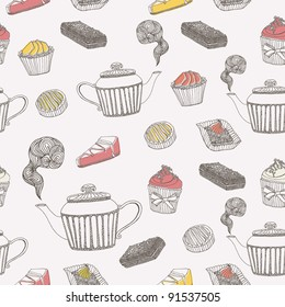 tea and cupcake background