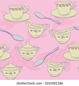 Tea cups sugar creamer spoon pink and yellow seamless background pattern