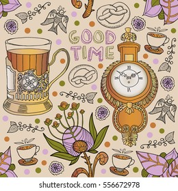 tea. decorative seamless pattern