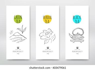 Tea design package. Green tea packaging design hand-drawn style. Black tea vector illustration. Herbal tea sign.