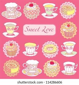 Tea and Desserts - Vintage Menu Card in vector
