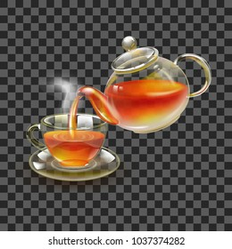 Tea. Fresh brewed black tea in a glass teapot, pour in a cup of tea. A beautiful teapot and a cup on a transparent background. Stock vector.