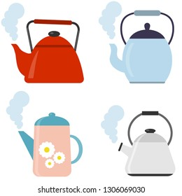 Tea. Fresh brewed tea - teapot, pour in a cup of tea. Vector illustration of logo for ceramic teapot, kettle on background. Teapot pattern consisting.