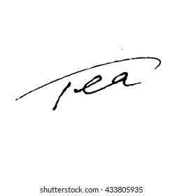 Tea handwritten phrase isolated on white background