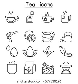 Tea icon set in thin line style