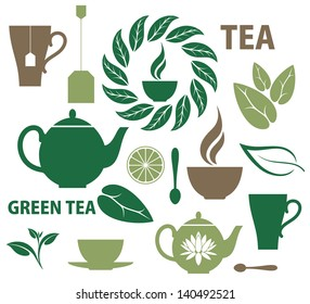 Tea. Icon set. Vector illustration