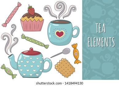 Tea isolated elements collection. Cozy set. Mug, teapot, cookie, muffin and candies. Vector illustration