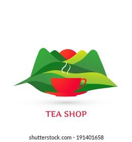 Tea label - vector illustration