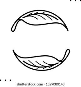 Tea leaf line art icon.  Black  aesthetic contour of two leaves.