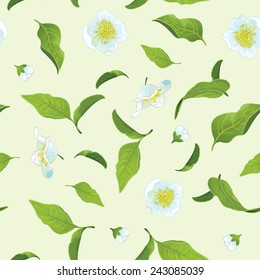 Tea leafs and flowers seamless background