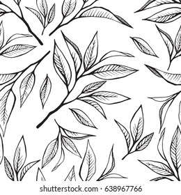 Tea leaves seamless pattern. Food vector background in hand drawn line art style on white.