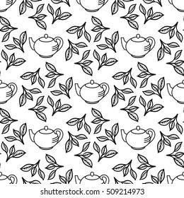 Tea leaves and teapot. Seamless pattern. Black simple hand drawing flush leaf. Vector illustration.