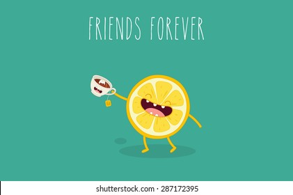 Tea with lemon. Comic characters. Vector cartoon. Friend forever.